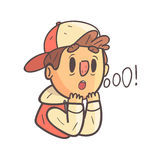Impressed Boy In Cap And College Jacket Hand Drawn Emoji Cool Outlined Portrait. Part Of Funky Flat Vector Sticker Series With Teenager Different Emotional Royalty Free Stock Photo
