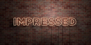 IMPRESSED - fluorescent Neon tube Sign on brickwork - Front view - 3D rendered royalty free stock picture Royalty Free Stock Photography