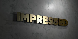 Impressed - Gold text on black background - 3D rendered royalty free stock picture Stock Photo