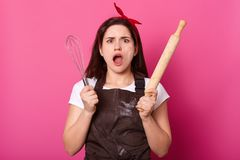Impressed surprised brunette young female stands with wide opened mouth and eyes, holding cooking equipment, raising whisk and. Wooden rolling pin, isolated stock photos