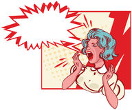 Impressed woman  - retro clip art  Illustration cry Royalty Free Stock Photos