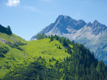 Impressing alpine scenery with wooden haut Royalty Free Stock Photos