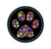 Impression animale florale de patte Photos libres de droits