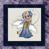 Impression carrée féerique de fleur bleue Photos libres de droits