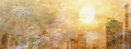 Impression City Sun Royalty Free Stock Image