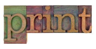 Impression dans le type en bois d'impression typographique Photos stock
