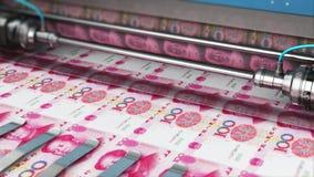 Impression de 100 billets de banque chinois d'argent de yuans illustration libre de droits