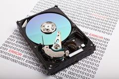 Impression de données d'unité de disque dur. Erreur photos libres de droits