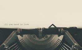 Impression de machine à écrire de vintage d'amour Images libres de droits