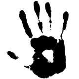 Impression de main noire Photos stock