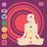 Impression de yoga avec des symboles de sept chakras Photographie stock