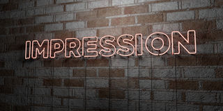 IMPRESSION - Glowing Neon Sign on stonework wall - 3D rendered royalty free stock illustration Royalty Free Stock Images