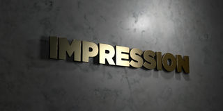 Impression - Gold text on black background - 3D rendered royalty free stock picture Stock Photos