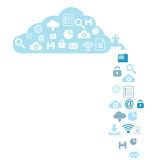 Impression. Illustration of data leakage in a a cloud, in the network Stock Images