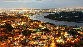 Impression night landscape of Ho Chi Minh city from high view Stock Photos
