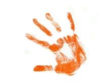 impression orange de main photo libre de droits