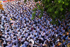Impression, overcrowded of buddhist at Pagoda on anniversary Royalty Free Stock Photo