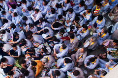 Impression, overcrowded of buddhist at Pagoda on anniversary Royalty Free Stock Photography