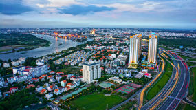 Impression panorama of Ho Chi Minh city Stock Photos