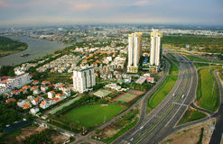 Impression panorama of Ho Chi Minh city Stock Photography