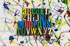 Impression typographique d'ABC d'éducation d'orthographe d'alphabet images stock