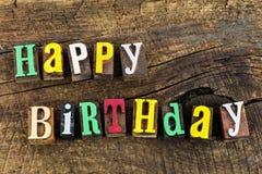 Impression typographique d'amour de célébration de joyeux anniversaire Photos libres de droits