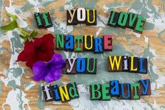 Impression typographique de beauté de découverte de nature d'amour Photos stock