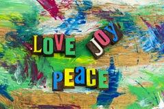 Impression typographique de confort de paix de joie d'amour Images libres de droits