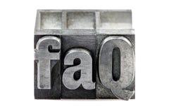 impression typographique de FAQ Photos stock