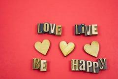 Impression typographique de message d'amour de valentine de vacances Image stock