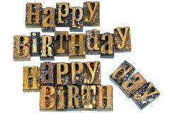 Impression typographique de salutation de joyeux anniversaire image stock