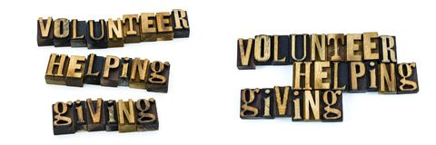 Impression typographique donnante de aide volontaire Photographie stock