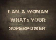 Impression typographique femelle de fille de respect de super pouvoir de femme photo libre de droits
