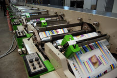 Impression UV de presse de flexo Image stock