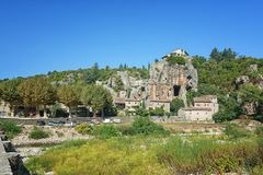 Impression of the village Labeaume  in the Ardeche region of Fra. Impression of the village Labeaume  which is recognized as historical heritage and is conered Royalty Free Stock Image