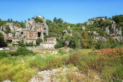 Impression of the village Labeaume  in the Ardeche region of Fra. Impression of the village Labeaume  which is recognized as historical heritage and is conered Royalty Free Stock Photos