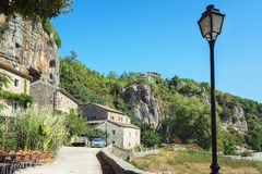Impression of the village Labeaume  in the Ardeche region of Fra. Impression of the village Labeaume  which is recognized as historical heritage and is conered Royalty Free Stock Photo