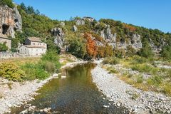 Impression of the village Labeaume  in the Ardeche region of Fra. Impression of the village Labeaume  which is recognized as historical heritage and is Royalty Free Stock Photography