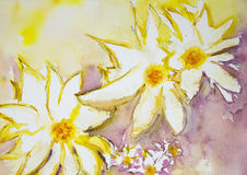Impression of wild flowers against a yellow and red background. Stock Images