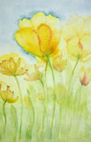 Impression of yellow tulips. The dabbing technique near the edges gives a soft focus effect due to the altered surface roughness of the paper Royalty Free Stock Images