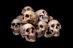 Impressionante, mucchio del cranio, su fondo nero, Fotografia Stock Libera da Diritti