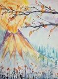 Impressione di un vulcano giapponese con i fiori di ciliegia royalty illustrazione gratis