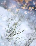 Impressione variopinta delle precipitazioni nevose dei fiocchi di scintillio fotografia stock libera da diritti