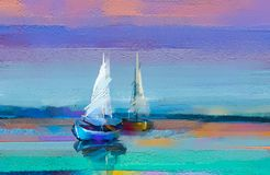 Impressionism image of seascape paintings with sunlight background. Modern art oil paintings with boat, sail on sea. Colorful oil painting on canvas texture royalty free illustration