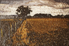 Impressionism painting: Countryside stock image