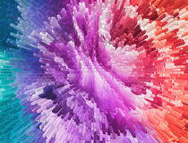Impressionism painting with extrusion effect, colored floral bac Stock Photos
