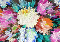 Impressionism painting with extrusion effect, colored floral bac Royalty Free Stock Images