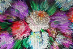 Impressionism painting with extrusion effect, colored floral bac Stock Images