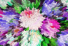 Impressionism painting with extrusion effect, colored floral bac Stock Photo