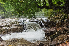 Impressionism painting: Waterfall Stock Photo
